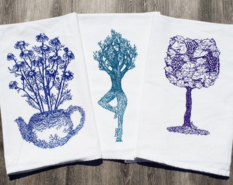 Tea Towels - Set of 3 Screen Printed Kitchen Towels - Perfect for Towel Dishes - Plant Designs - Blue Teal Purple - Housewarming Gift