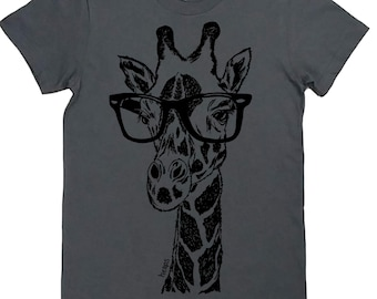 4e1d3bc27 Womens Graphic Tees Funny - Giraffe with Glasses - Screen Printed - Gifts  for Her - Gifts for Women - Womens Boutique Graphic Tees