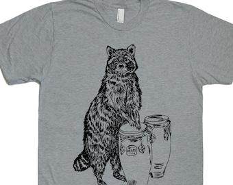 Mens T Shirt  - Mens Funny Tshirt - Mens Gift - T Shirts for Men - Boyfriend Tshirt - Graphical Tees - Funny TShirts - Conga Playing Raccoon