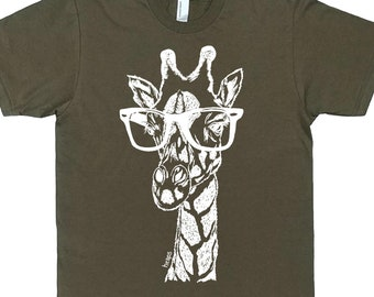 TShirts for Men - Funny Mans Tshirts - Nerdy TShirts for Men - Graphical Tees - Giraffe Tee Shirt - Funny Tees - Hipster Tee - Army Green