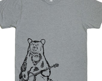 Mens T Shirt - Banjo Bear T Shirt - Animal Tee - Graphic T Shirt for Men Printed Tee Mens Short Sleeve Shirt - Mens Tee Shirts  S M L XL 2XL