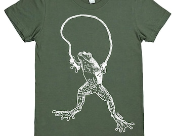 Womens Graphic Tees - Frog Jumping Rope - Green - Short Sleeve - Crewneck Tshirt - Trendy Cool Hipster Clothing - Screen Print