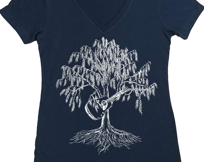 Graphic Tees for Women - Nature Inspired - Acoustic Guitar Tshirt - Musician Gifts - Guitarist Gifts - Funny Tshirt - Trees Forest Bluegrass