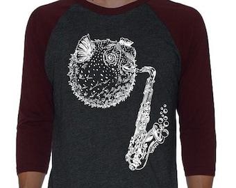 Unisex Baseball TShirt - Raglan Shirt for Women or Men - Graphic Baseball Shirt - Womens Baseball Tee Blowfish Saxophone Shirt Musician Gift