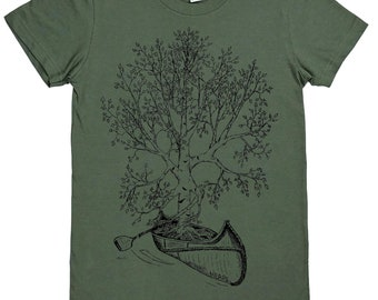 Womens Graphic Tee | American Apparel | Canoe Tshirt | Funny Tshirts | Outdoors Tshirt | Hipster Clothing | Canoeing Tree | Birch Tree