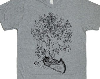 Canoeing T Shirts for Men - Man Gift - Man Tee Shirt - Canoe T shirt - Tree TShirt - Birch Bark Canoe - Canoeing Gifts - Funny Canoeing Tees