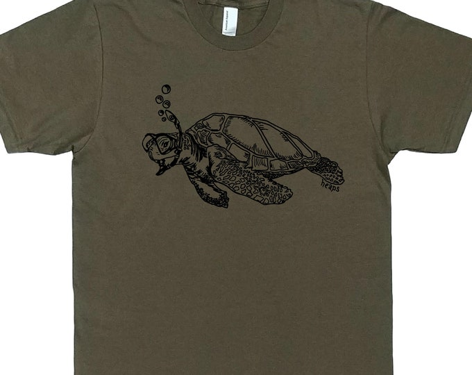 Funny Mens T Shirt - Sea Turtle Funny Tee - Funny Animal Tee Shirts - Nautical T Shirts - Green Tees - Mens Green Tee Shirts  S M L XL XXL