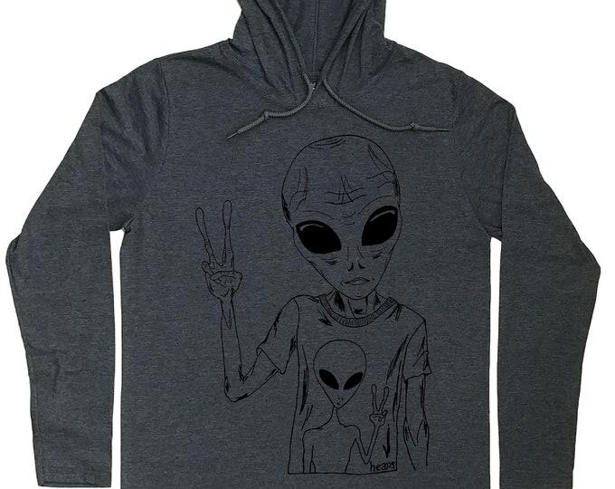 Mens Hoodies - Grey Hoodies - Alien Hoodie - Sci Fi Hoodies - Geek Hoodie - Hoody for Men - Graphic Hoodie - Hoodie for Men - Hoodie T-shirt
