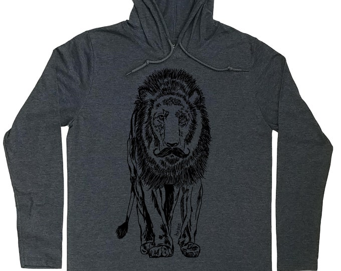 Hoodies for Men - Mustache Mens Hoodie - Lion Hoodie - Hipster Hooded Shirt - Mustache T Shirt - Light Weight Hoodie - Pullover Hoodie Men