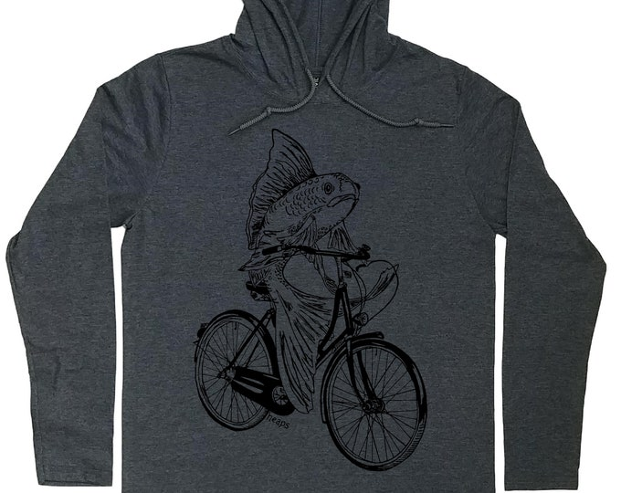 Hoodies for Men - Vintage Bicycle Hoodie - Cyclist T Shirt - Fish on a Bike - Vintage Bicycle Lover Gift - Hoodie T-shirt Men Hoodie for Men