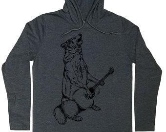 Mens Hoodies - Guitarist Hoodie - Guitar Player Hoodie - Howling Wolf Tee - Wolf Hoodie - Wolf T Shirt - Guitar Player Gift - Mens Hoodie