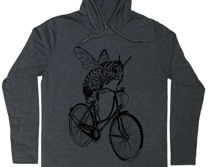 Hoodies for Men - Vintage Bicycle T-Shirt - Bee T shirt - Save the Bees Shirt - Cyclist Hoodie - Bee Hoodie - Hooded Tshirt Men - Bee Shirt