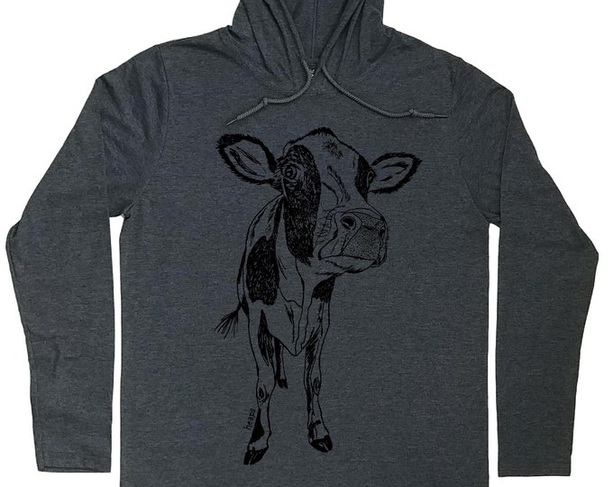 Mens Hoodies - Funny Cow Hoodie - Cow Lover Gift - Dairy Cow Shirt - Cow Pullover Shirt - Hooded Tshirt Men - Light Weight Hoodie - Cow Tee