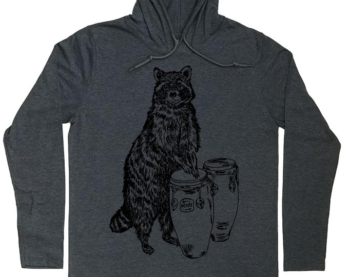 Mens Hoodies - Drummer T Shirt - Raccoon Hoodie - Drummer Hoodie - Congas T Shirt - Hoodie Tshirt Men - Hoodie for Boyfriend - Funny Hoodies