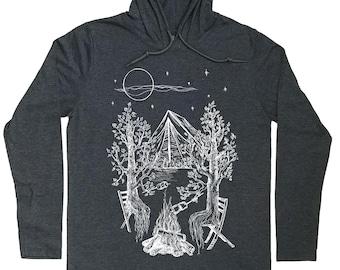 Mens Hoodies - Camping Hoodie - Camping Shirt - Tenting T Shirt - Nature Lover Gift - Pullover Hoodie Men - Pull Over Hoodies - Grey Hoodies