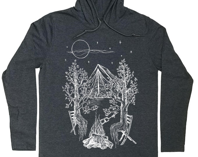 Mens Hoodies - Camping Hoodie - Camping Shirt - Tenting T Shirt - Nature Lover Gift - Pullover Hoodie Men - Pull Over Hoodies - Grey Hoodies