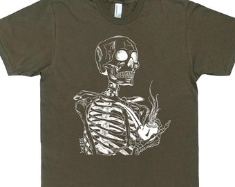 Mens Skeleton T Shirt - Man Tee Shirt - Graphic Tshirts for Men - Smoking T Shirts - Pipe Tshirt - Smoker Gift - Man Gift - Nerdy T-Shirts