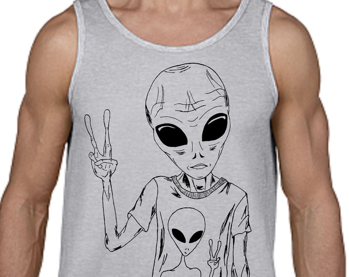 Tank Tops for Men - Space Alien Tank Top - Printed Tank Top - Alien T Shirts - Geek Tshirt - Funny Tank Tops Grey Tanktops Muscle Tee Shirt