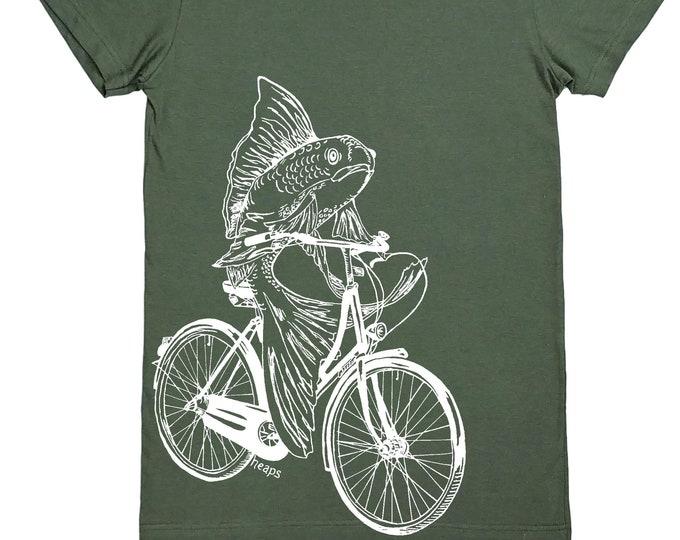 Womens T Shirt - Feminist Tee Shirt - Funny Tees - Geek T-shirt - Ladies Tee S M L XL - Short Sleeve - Screen Print - Fish needs a bicycle
