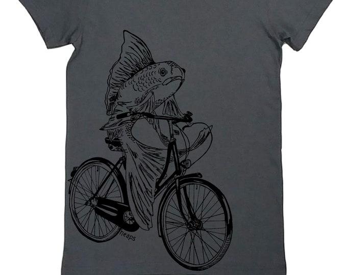 Funny Tshirts Women - Feminist Tee - Womens Fish T Shirt - Grey Womens Shirt - Funny Animal Tshirts - Gray Womens Tees - Bicycle Tshirts