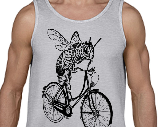 Mens Tank Top - Cycling Tank Top - Cycling Shirt - Honey Bee on a Bike - Bee Tank Top - Funny Graphics - Mens Gifts - Boyfriend Gifts Ideas