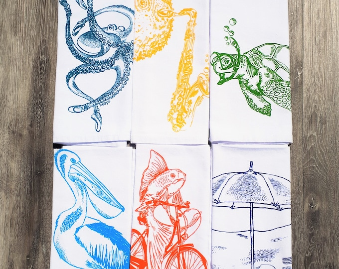 Cloth Dinner Napkins Set of 6 - Screen Printed Images - Cotton - Nautical Theme - Dinner Place Setting - Washable Reusable Napkins Fun Gift