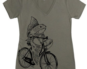 Womens T shirt - Womens V Neck T Shirts - Fish T Shirt - Fish needs a bicycle - Funny TShirts - Gift for Women - Funny Womens Tee - Cyclist