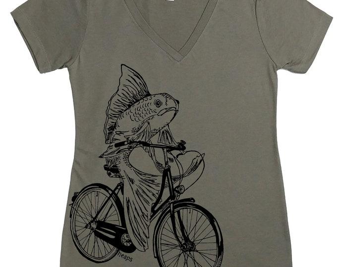 Womens T shirt - Womens V Neck T Shirts - Fish T Shirt - Fish needs a bicycle - Funny TShirts - Gift for Women - Funny Womens Tee - Cyclist