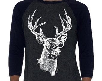 Unisex Baseball TShirt - Unisex Fit - Raglan Shirt for Women or Men - Graphic Baseball Shirt - Deer Shirt - Musician Tshirt