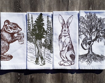 Funny Forest Cloth Napkins - Screen Printed Cotton Napkins - Trees Chipmunk Rabbit - Washable Reusable - Fabric Dinner Linens - Set of 4
