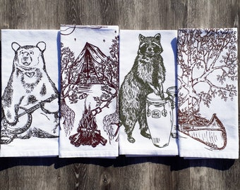 Forest Animals and Trees Cotton Napkins Set of 4 - Funny Napkins - Country Table Linens - Washable Reusable Eco Friendly - Dinner Table