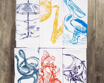 Cloth Napkins Set of Six - Screen Printed Images - Cotton - Nautical Theme - Dinner Place Setting - Washable Reusable Napkins - Eco Friendly
