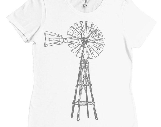 Womans Tshirt - Regular Fit Tee - Windmill Tshirt - Green Energy - Fashion T Shirts - White TShirt - Summer Tops - Printed Tshirts for Woman