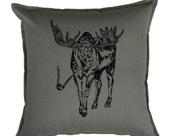 Couch Pillow Covers 20x20 - Animal Pillows - Moose Pillows - Funny Home Decor - Gifts for Mom - Grey Pillows Case - Living Room Pillows