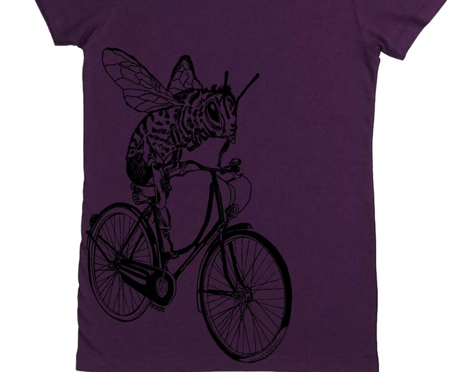 Womens TShirt - Bee on a Bicycle Womens Tee - Cute Tshirts - Fashion T Shirts - Cyclist T Shirts - Gift for Women - Save the bees tee