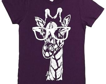 Womens Graphic Tee | American Apparel | Giraffe Tshirt | Hipster Clothing | Funny Tshirts | Hipster Tshirt | Giraffe wearing Glasses