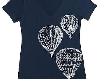 Graphic Tees for Women - Tshirt Women - Hot Air Balloon T Shirt - Festival Tshirts - Festival Shirts for Women - Retro Top - Nerd Shirt Geek