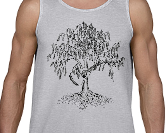 Mens Tank Tops Muscle Workout Gift for Guitar Player Boyfriend Gifts Willow Tree of Life Music Teacher Gift