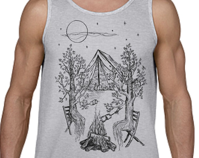 Tank Tops for Men - Camping Gift for Him - Man Gifts - Camping Tank Top - Tree Tshirt - Nature Inspired Hipster Clothing Printed Graphics