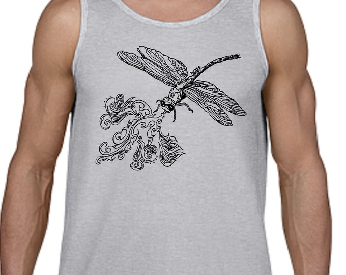 Dragonfly Tank Top - Tank Tops for Men - Man Gifts - Funny Tank Tops - Gift for Boyfriend - Gift for Him Sleeveless Top Cotton Polyester