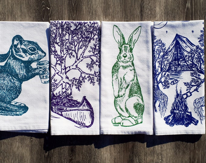 Cotton Napkins - Screen Printed Cotton Eco Friendly Cloth Napkins - Funny Forest Napkins - House Warming Gift - Handmade Gift - Wedding Gift