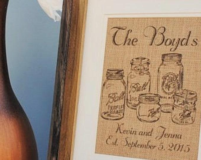 Mason Jars Personalized Burlap Wedding Gift - Burlap Print - Burlap Monogrammed Wall Art - Bridal Shower Gift for Bride - Gift for Newlyweds