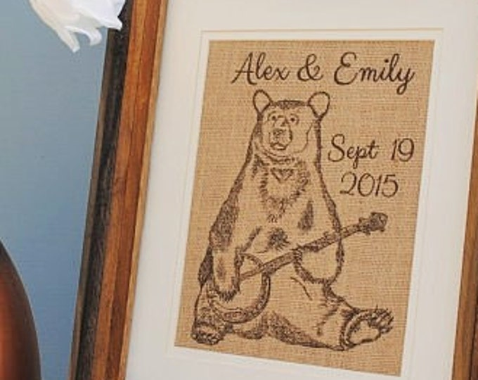 Banjo Bear Personalized Burlap Print Wall Decor - Wedding Gifts Personalized - First Name Burlap Sign - Burlap Monogram - Established Date