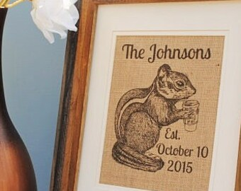 Chipmunk Personalized Burlap Print - Burlap Monogrammed Wall Art - Housewarming Gift - Family Name Sign - Wedding Gift - Anniversary Gifts