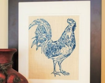 Rooster Wall Art Print - Animal Art Print - Barnyard Wall Hanging - Art Print Kitchen - Rooster Prints - Mothers Day Gift