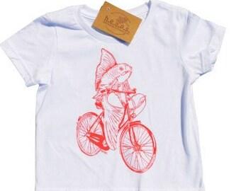 Girls T Shirts - Pink Fish on a Bike - Nautical T Shirt - Toddler Clothing - Fish Clothes - Pink T Shirt - Girls Birthday Gift