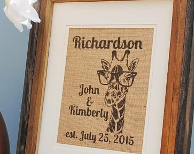 Giraffe Personalized Wedding Art - Burlap Wall Hanging - Monogrammed Wall Art - African Wall Picture - Wedding Gifts for Couple - Gift Idea