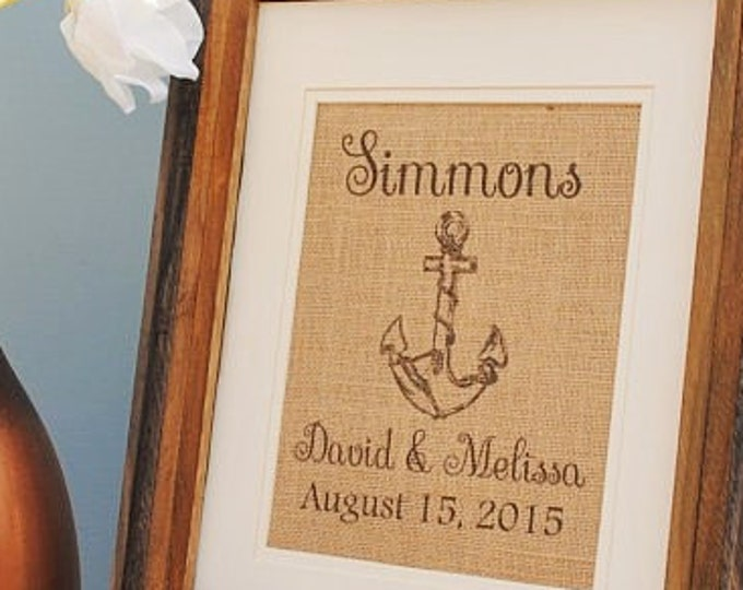 Personalized Burlap Wedding Gift - Personalized Bridal Shower Gift - Burlap Monogrammed Wall Art - Bridal Shower Gift for Bride - Anchor Art