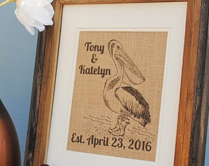 Pelican Personalized Burlap Wall Art - Personalized Bridesmaids Gifts - Monogrammed Burlap Print - Nautical Decor - Gifts for Best Friends