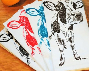 Cloth Napkins - Screen Printed Cotton Napkins Set of 4 - Table Napkins with a Cow - Washable Reusable Animal Napkins